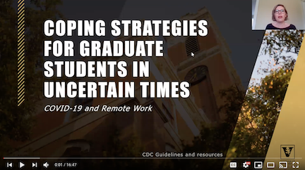 First slide of Stacey Satchell's video of coping strategies for graduate students