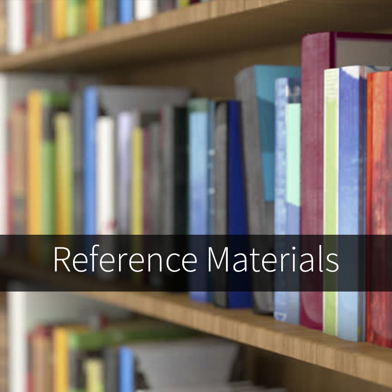 image of books on a shelf with text stating reference materials. Click here to access PDF documents relevant to new students