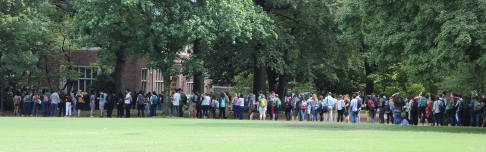 Line of new graduate students at orientation
