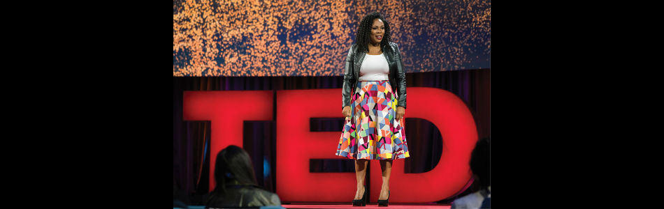 """Jedidah Isler at TED """"Dream"""" Conference, photo credit to Bret Hartman/TED"""
